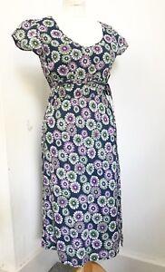 Women's SEASALT Blue Purple Green Floral Print Cotton MERMAID dress. 10. Summer