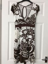 Jane Norman stretchy cream, brown floral dress flattering empire line size 14