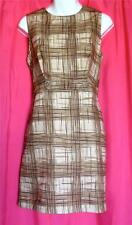 VINTAGE 60s BROWN abstract ATOMIC rockabilly MINI DRESS mod GOGO shift SCOOTER L