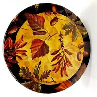 "Fall Autumn Leaves Acorns Collectible Tin Round 6 3/4"" Storage Container"