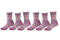 Country Kids Girl's 6-Pairs Flutterby Candy Crew Socks Sz: 8-9; Fits Shoe 12-6