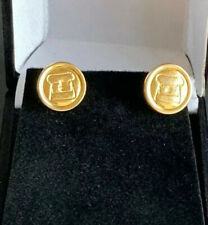 Authentic Vintage CHANEL Button Earrings Gold Plated Metal