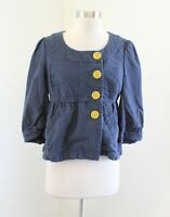 Ett Twa Anthropologie Blue Pin Dot Polka Asymmetrical Button Jacket Size 8