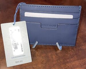 NEW GENUINE NAVY LEATHER COLE HAAN SLIM CREDIT CARD WALLET MINIMALIST THIN EDC