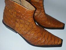 Jacques Raphael Exotic Giant Anaconda Snake Skin Ankle Boot Men's 46 US13 Cognac