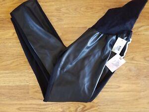Women Jessica Simpson Maternity Black Faux Leather Front Pants Leggings XL 16-18