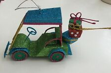 Multi Coloured Glitter Hanging Christmas Decorations Tree Ornament Golf Buggy US
