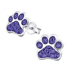 Sterling Silver 925 Dog / Cat Paw Crystal Stud Earrings - Purple