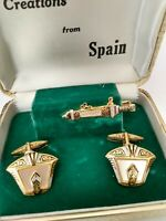 Vintage Sword & Shield Gold Tone  3pc (Cuff Links And Tie Clip) Creations Spain