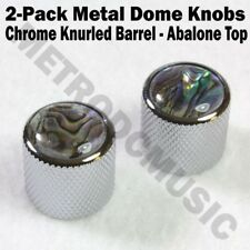 2-Pack Metal Dome Knobs - Chrome Knurled Barrel - Abalone Top Guitar Contro