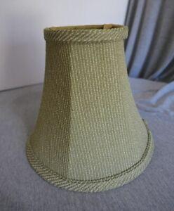 "NEW Green & Beige Striped Fabric & Brass Bell Lamp Shade 10"" W x 9"" H"