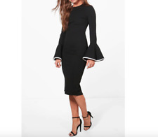 Ladies New Tall Contrast Flared Sleeve Bodycon Dress In Black Size 8 UK