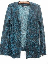 Chico's 2 Additions Soft Jacket Misses L Poly Teal Blue Black Chico's Size 2