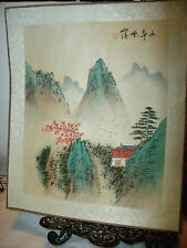VINTAGE HAND PAINTED JAPANESE SILK MOUNTAIN PICTURE, SIGNED