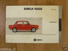 SIMCA 1000  HANDLEIDING OWNERS MANUAL,INSTRUCTION BOOK