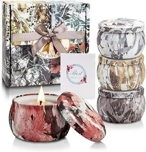 4PK Garden Themed Scented Tin Candles Mothers Day Home Decor Gift AGE UK