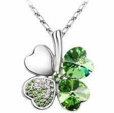 "Crystal Lucky Four Leaf Clover Love Heart Charm Pendant Necklace w 18"" Chain"