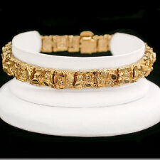"8mm Chunky NUGGET Link 8"" 24kt 14k GOLD GL MENS Bracelet 