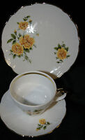 Retsch Wunsiedel Porzellan 3 tlg Kaffee Gedeck gelbe Blumen Goldrand Vintage