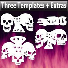 Skull Template Triple Set 7 total skulls Airbrush Stencil Spray Vision air brush