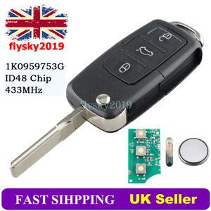 1K0959753G 433Mhz Remote Key Fob For VW MK5 Golf Seat Leon Skoda Octavia Touran