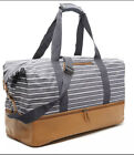 DSW Canvas Striped Weekender Bag w/ Shoe Compartment (Navy/White/Leather) - O1