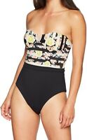 French Connection Women's Swimwear Black Size Large L One Piece Printed $69 #838