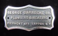GEORGE GARRECHT Jr PLUMBING & HEATING TAPPAN NY Old Cast Metal Sign Plaque