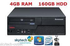 RÁPIDO Lenovo Intel Dual Core PC de sobremesa 4gb RAM 160gb DISCO DURO Wi-Fi