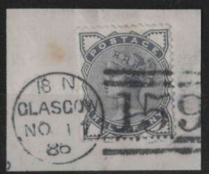 z339) Great Britain. 1883. Used on piece. SG 187 1/2d Slate-blue. c£20