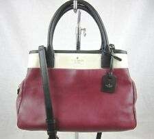KATE SPADE Satchel Tote Purse Black Maroon Off-white Leather Cross-body Convert
