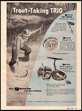 1958 Garcia Trout Taking Trio Abu Reflex Lures Platyl Line Vintage Print Ad