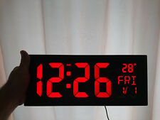 Big Large LED Electronic Digital Wall Clock 37cm Temperature Date Clear Red UK