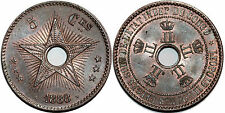 CONGO BELGE 5 CENTIMES 1888 8/7 KM# 3 UNC !!!!