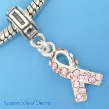 Breast Cancer Pink Crystal Ribbon 925 Solid Sterling Silver European Bead Charm