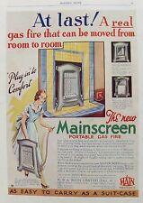OLD ADVERT MAINSCREEN PORTABLE GAS FIRE MAIN Ltd DECO c1931