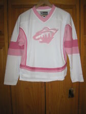 Minnesota Wild Reebok hockey jersey girls L 14 white pink NEW NWT NHL