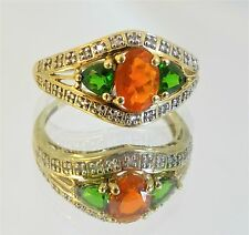 REDUCED Stunning 9ct Gold FIRE OPAL, DIOPSIDE & DIAMOND CLUSTER Ring Size O Hm