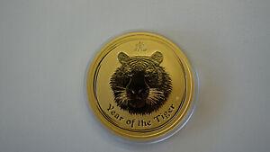 "2 oz Australien 2010 Lunar Serie II ""Year of the Tiger"" 2 Unzen 999,9 Goldmünze"