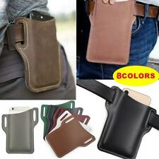Men's Cell Phone Belt Pack Bag Loop Waist Holster Pouch Case Genuine Leather 