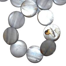 """MP1593L Silvery Gray 30mm Flat Round Mother of Pearl Gemstone Shell Beads 16"""""""