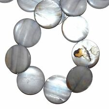 MP1593L Silvery Gray Mother of Pearl 30mm Flat Round Gemstone Shell Beads 16""