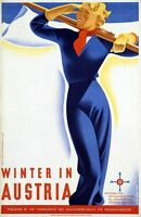 "Vintage Illustrated Travel Poster CANVAS PRINT Winter in Austria 24""X16"""