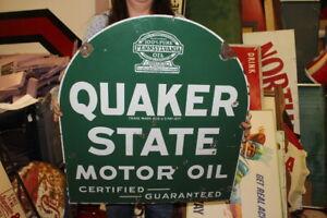 """Vintage 1932 Quaker State Motor Oil Gas Station 2 Sided 29"""" Porcelain Metal Sign"""