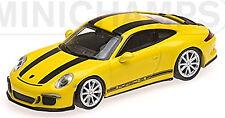 Porsche 911 R Coupé 2016 jaune jaune + Noir Stripe 1:87 Minichamps