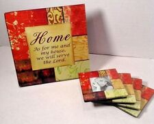 Picture Frame Glass Religious Coaster Set with Home Plaque Gift Set