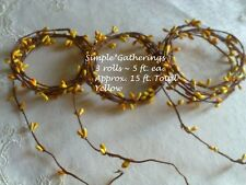 Pip Berry Garland 3 pcs Yellow Single Ply 15 ft Total Wispy Wedding Crafts Rope