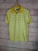 JACK NICKLAUS Mens M Yellow w Blue Striped Polo Golf Shirt