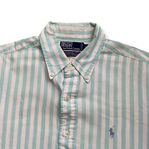 "Vintage RALPH LAUREN Shirt | Large L | Green/White Striped Long Sleeve 48"" Chest"