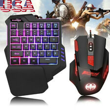 Wired One-Handed Gaming Keyboard Keypad 6800DPI Game Mouse Combo For PC Laptop